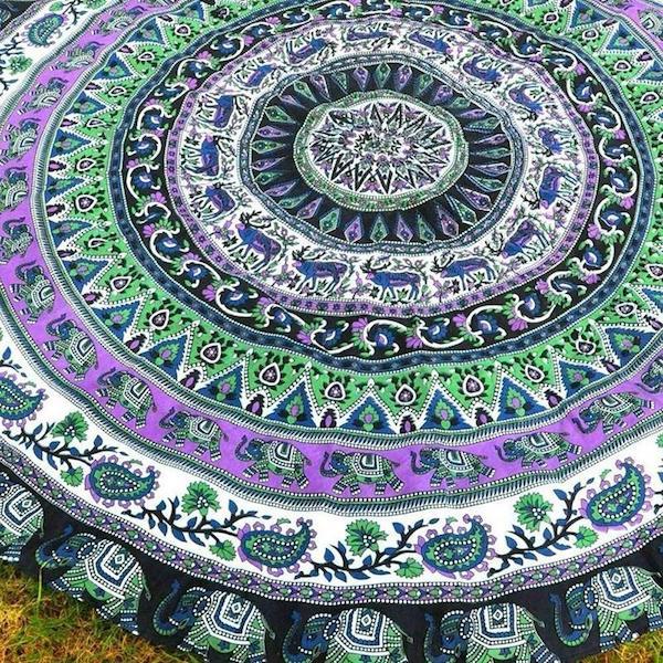 Gana Indian Elephant Mandala Blanket