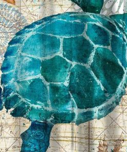 sea turtle in water shower curtain