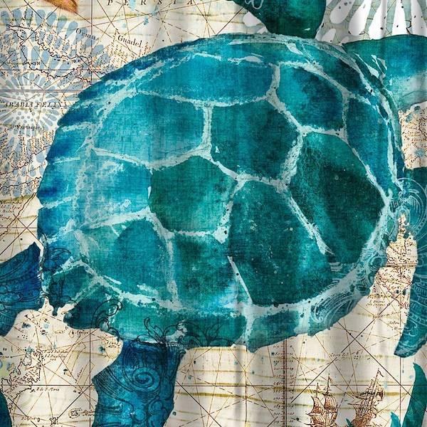 Under The Sea Turtle Shower Curtain The Yoga Mandala Shop