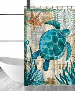 under sea turtle shower curtain