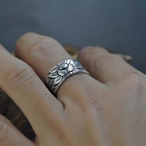 Lotus Ring With Heart Sutra