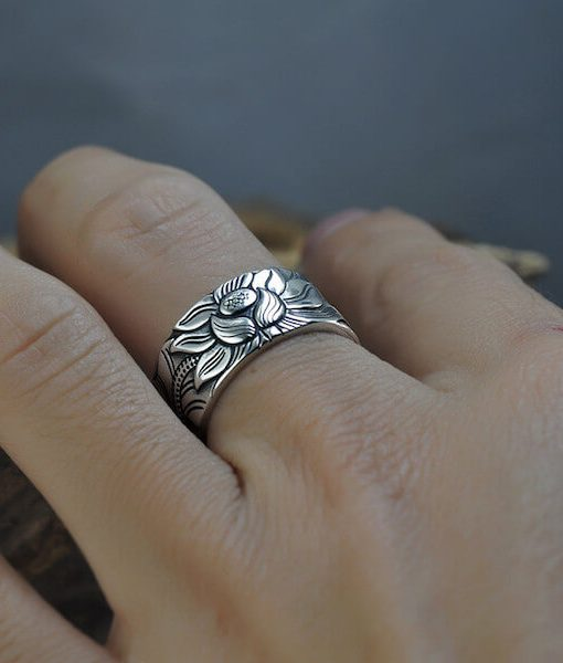 buddhist-heart-sutra-lotus-silver-ring
