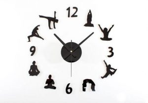 creative diy figures yoga wall clock