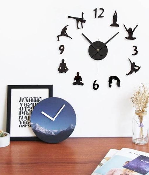 creative-diy-yoga-figures-wall-clock