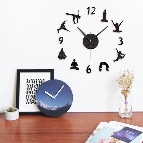 creative-diy-yoga-figures-wall-clock