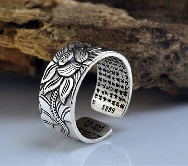 Heart Sutra Lotus Silver Ring