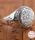 silver carved om mani padme hum lotus ring