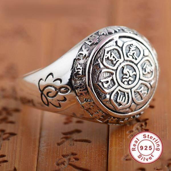 Yoga Symbols - Om Mani Padme Hum Lotus Ring
