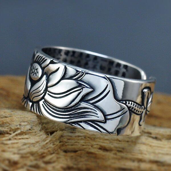Yoga Symbols - Buddhist Heart Sutra Lotus Silver Ring