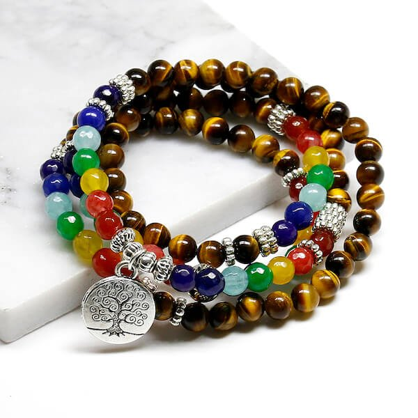 Tree Of Life 7 Chakra Tiger Eye Beaded Bracelet