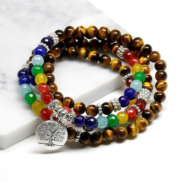 tree life 7 chakra tiger eye beaded bracelet
