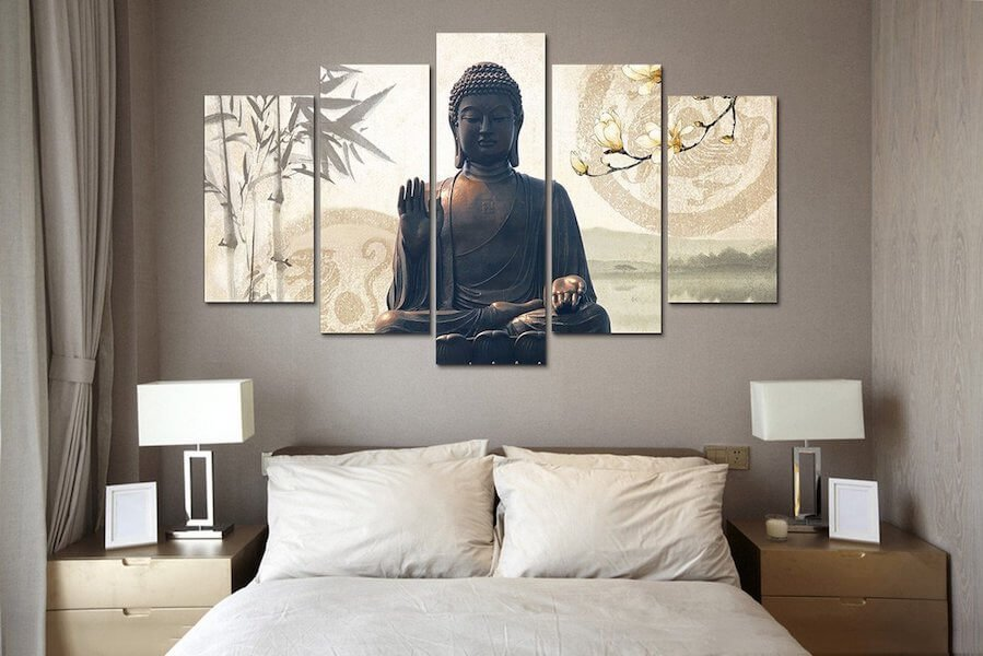 buddha bamboo 5 piece canvas painting