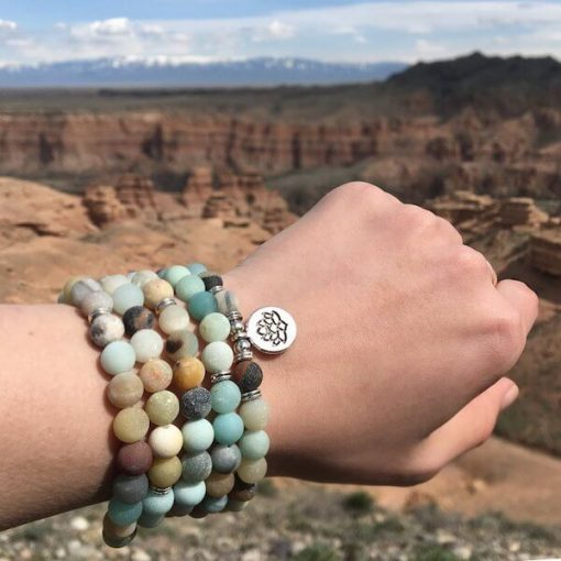 Buddhist Lotus Amazonite Mala Bracelet