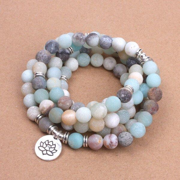 Buddhist Lotus Amazonite Mala Bracelet