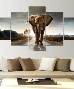 elephant-lucky-5-piece-canvas-painting