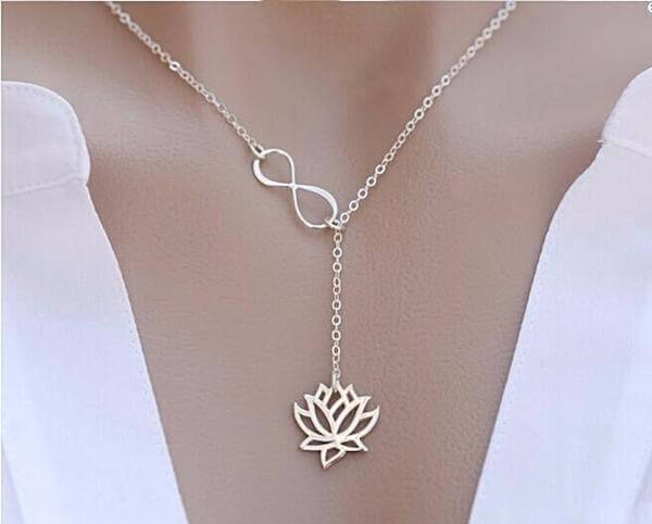 infinity lotus pendant necklace
