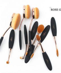 rose gold oval brush set rose gold