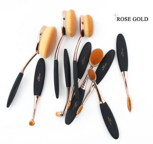 rose gold oval brush set rose gold