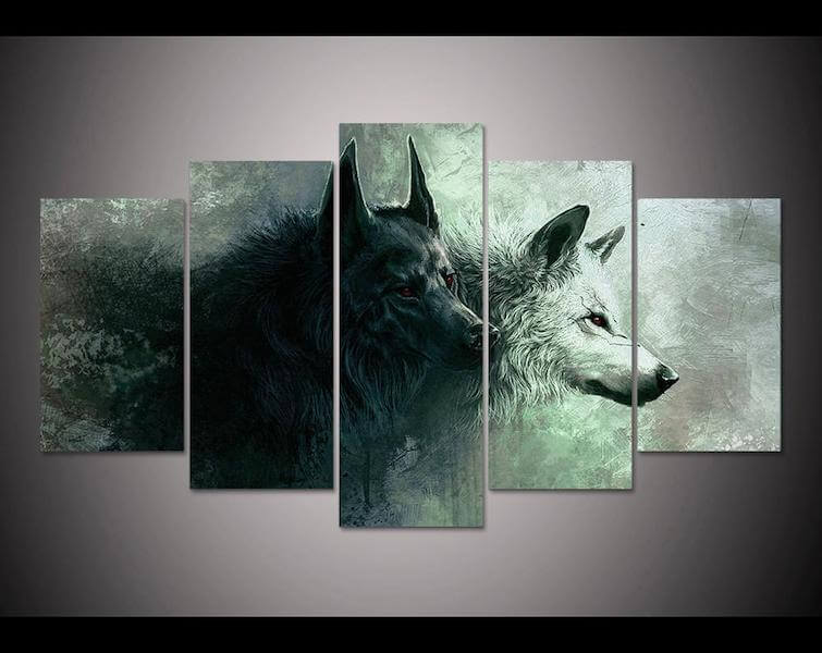 yin yang wolf 5 piece canvas painting