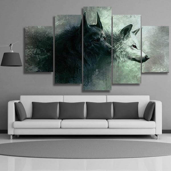 Yin Yang Wolf 5 Pieces Canvas Painting
