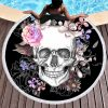 floral sugar skull beach towel