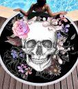 floral sugar skull beach towel