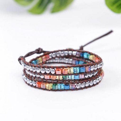 Leather Harmonizing Chakra Bracelet