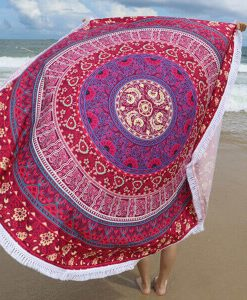 red plum bow medallion beach towel tassels