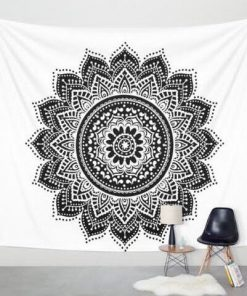 mandala lotus black and white tapestry