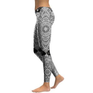 slim black mandala fitness leggings