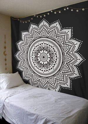 lotus flower black and white wall hanging tapestry