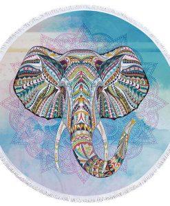 blue round elephant beach towel