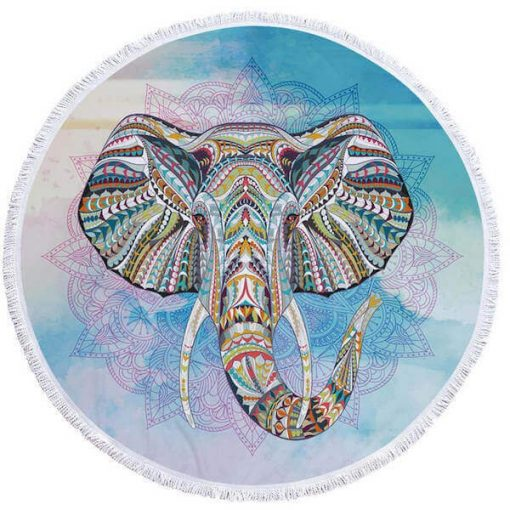 blue round elephant beach towel