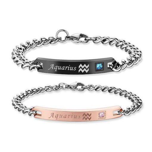aquarius Bracelets - Zodiac Sign Matching Couple touch Bracelets [12 Variants]