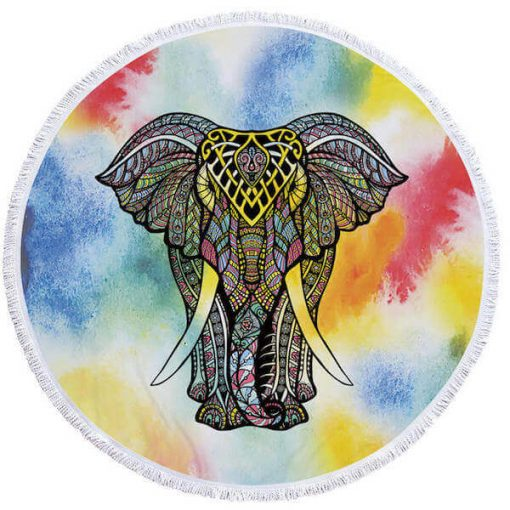 colorful round elephant beach towel