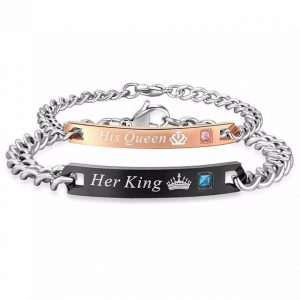 His Crowned Queen And Her Crowned King' Stainless Couples Bracelet