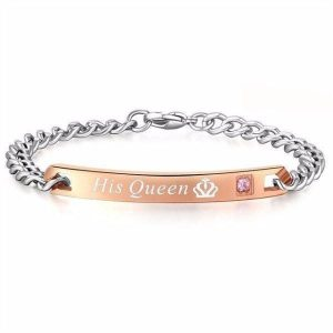 Couples Bracelets - His Crowned Queen And Her Crowned King' Stainless Couples Bracelet
