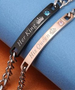 His Crowned Queen And Her Crowned King' Stainless Couples touch Bracelets