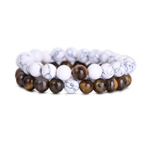 Couples Bracelets - Natural Tiger Eye Stone Couple Distance Bracelets [Set Of 2]