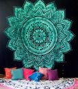 green-lotus-mandala-tapestry