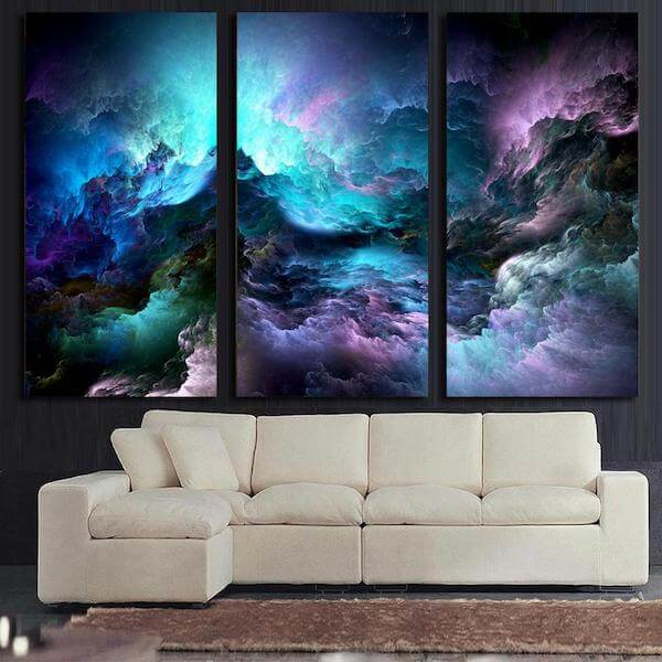 Blue Space Nebula Canvas Painting