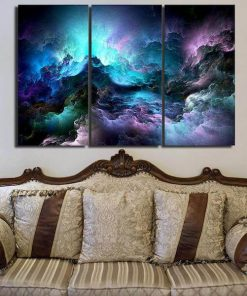 Blue Space Nebula Canvas Painting