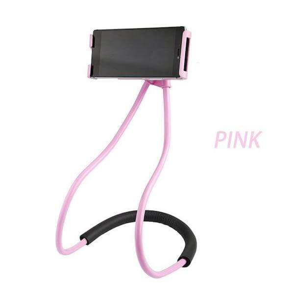 pink lazy neck phone holder