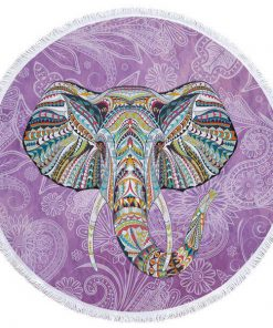 purple round elephant beach towel