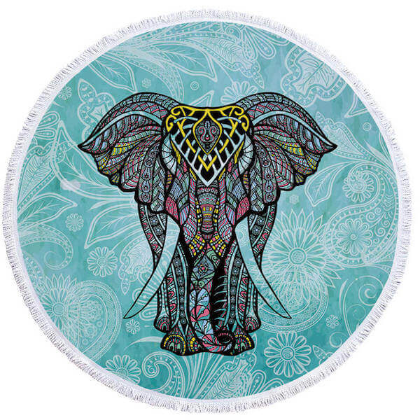 Round Elephant Beach Towel With Tassels