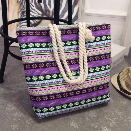 canvas summer beach tote bag