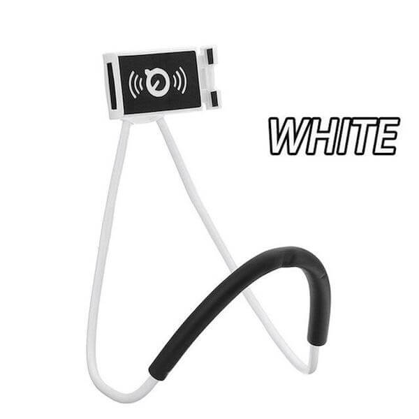 white lazy neck phone holder