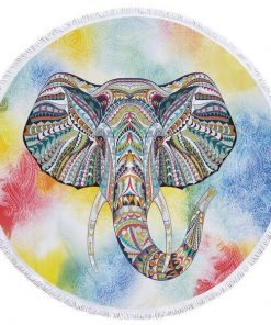 yellow round elephant beach towel