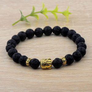 Black Lava Buddha Head Bracelet