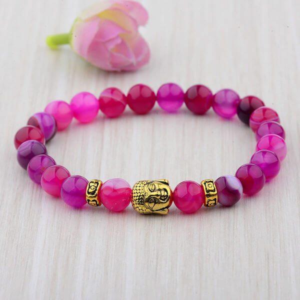 Pink Buddha Head Bracelet